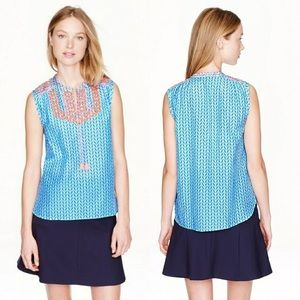 J Crew Factory Print Embroidered Tassel Top Blue 0